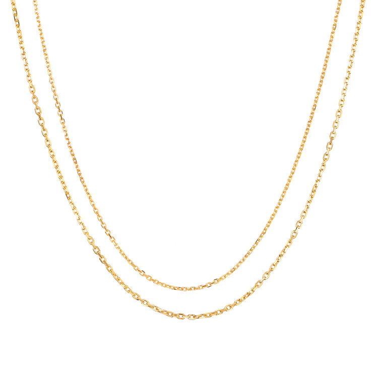 14K Solid Gold jewelry 14ct Real Gold 1.0mm cross diamond cut chain necklace for woman