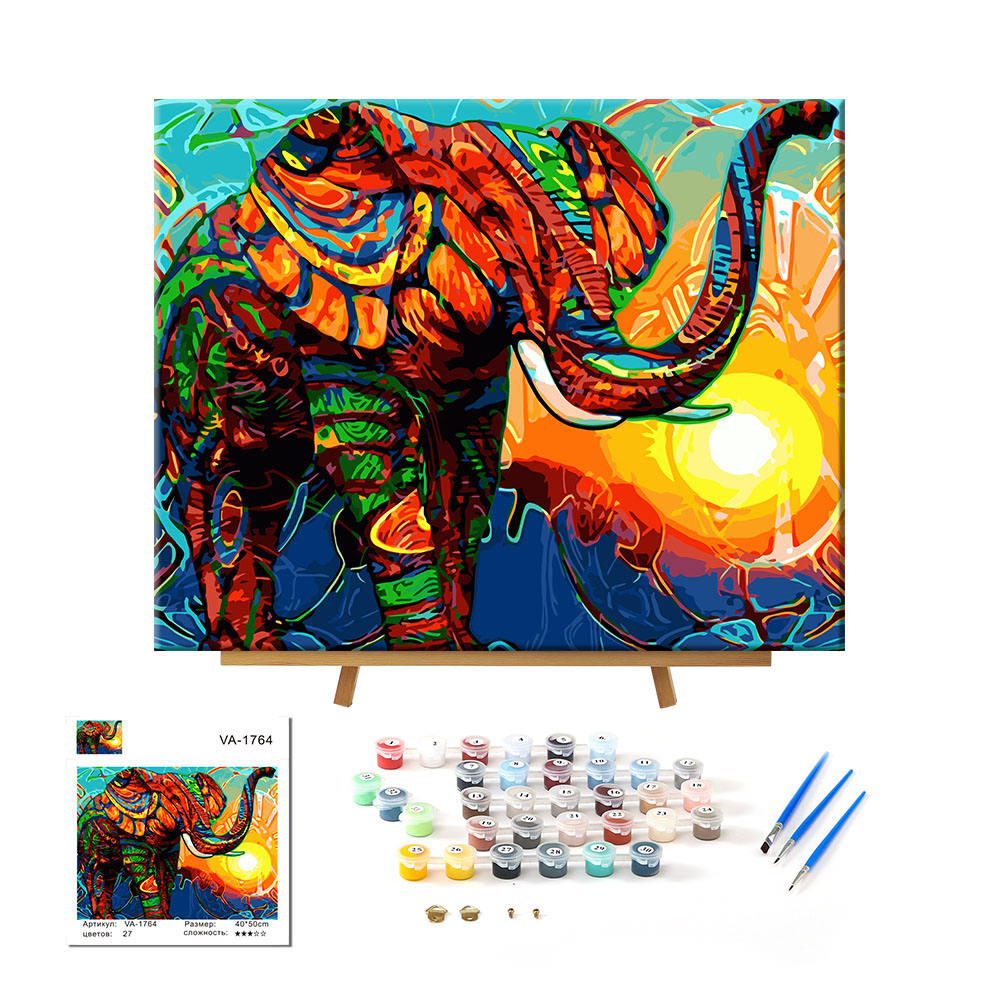 Manufacturer Supply Personalized Abstract Wall Art Elephant Painting On Canvas