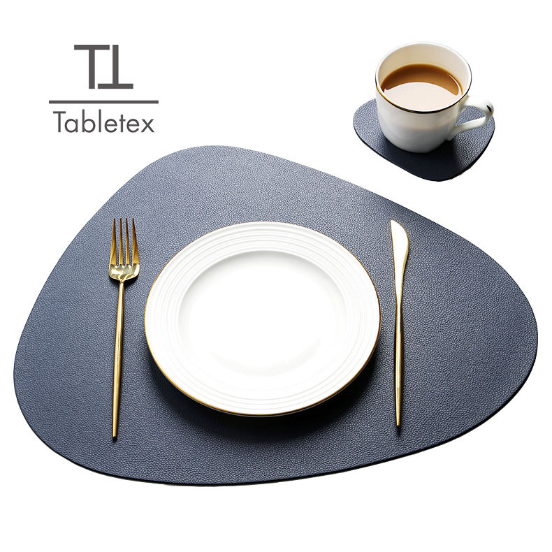 Tabletex l'environnement doute côtés <span class=keywords><strong>PVC</strong></span> cuir triangle forme anti-dérapant napperons occidentaux tapis <span class=keywords><strong>de</strong></span> <span class=keywords><strong>table</strong></span>