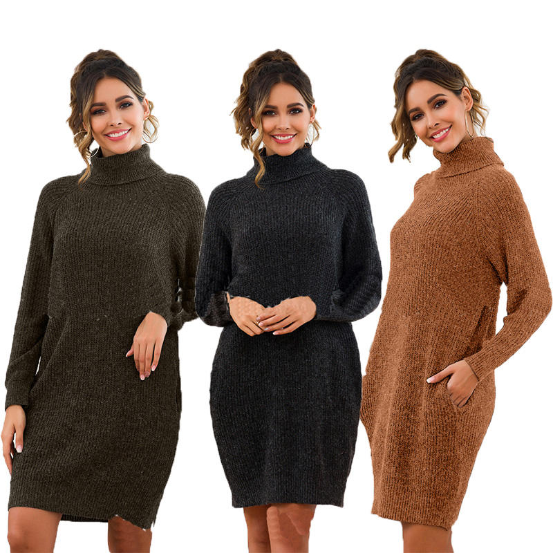 wholesale winter plain plus size high collar warm women wool sweater dress for party evening