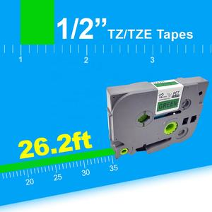 Orison Kompatibel P-Sentuh TZ 12 Mm X 8 M Label Tape | TZo-731/TZ-731 Hitam Hijau tape untuk Brother Label Maker