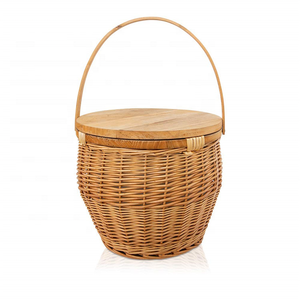 hot sale round wicker picnic basket with wood lid and put down handle storage picnic basket