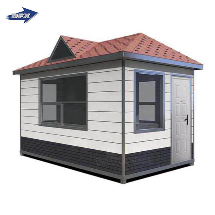 DFX Prefabricated Carved metal plate Portable Security Guard Booth security guard house design for Sale