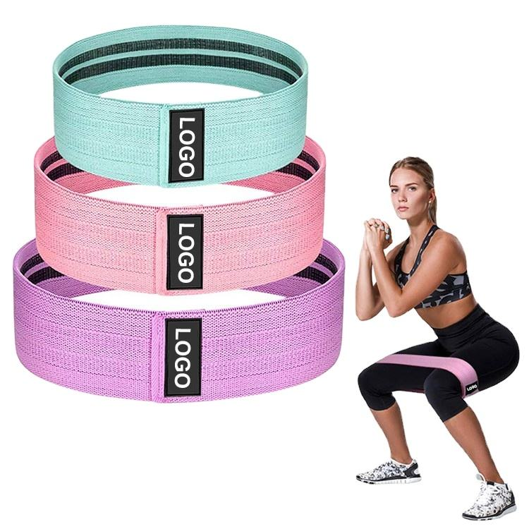 2020 New Design Custom Logo Set of 3 Exercise Stretch Hip Circle,Printed Fabric Booty Band Gym Fitness Glute Resistance Band