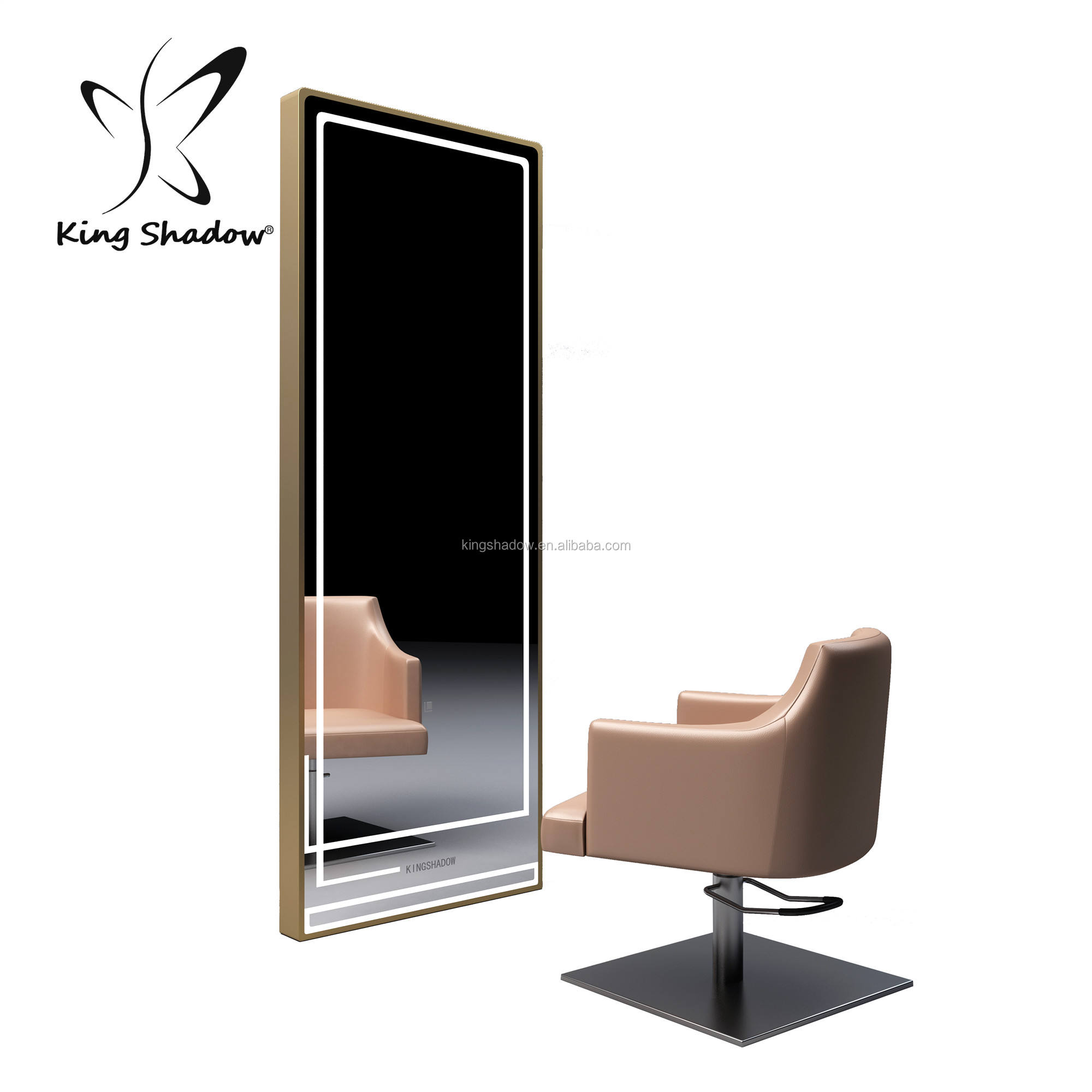 Beauty salon equipment mirror station with LED light hair salon station with mirror for sale