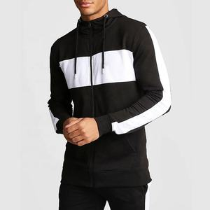 OEM Custom fashion men's full zip color matching regular jersey hooded men zipper hoodies