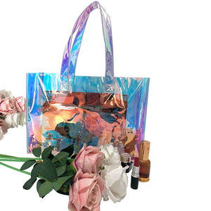 Eco friendly laser shopping handbags holographic plastic bags womens pvc tote bag
