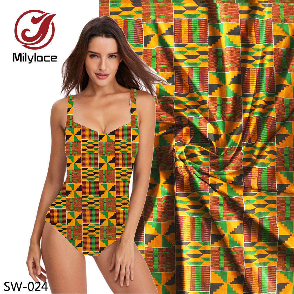 sexy swimwear bikini stretch fabrics african wax print spandex bikinis swimwear woman fabric