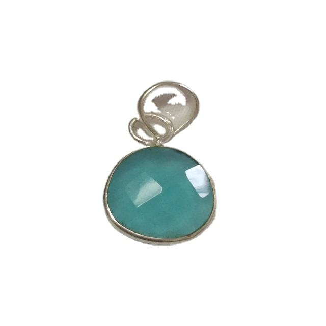 925 solid sterling silver bezel pendant with real high quality aqua chalcedony gemstone