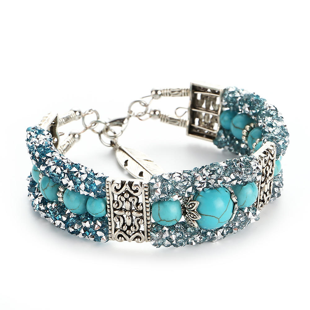 Wholesale Vintage Ethnic Wind Bracelets Turquoise Beaded Wire Circle Bright Diamond Bracelet