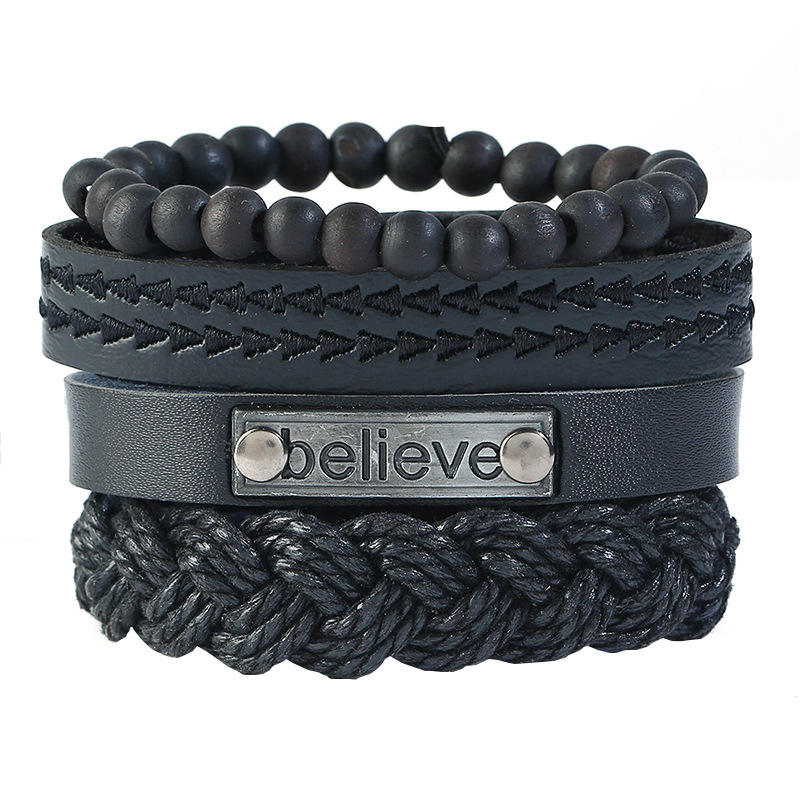 Punk Multilayer 4pcs/set Weave Bead PU Cowhide Believe Words Charm Men Genuine Leather Bracelets Women Homme Female Jewelry