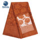 Bestway Burnt Orange African Rose Embroidery Tulle Lace Fabric
