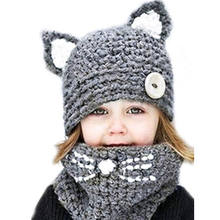 L582 Animal Cat Earmuffs Child Hat Knitted Warm Neck Hats Male Female Child Scarf Cap Sets
