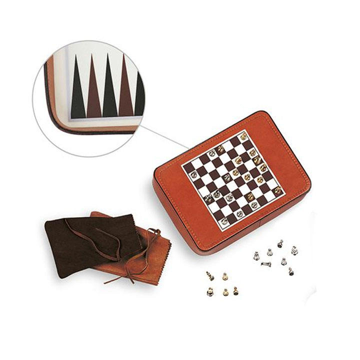 Custom Pu Leather Pocket Travel <span class=keywords><strong>Backgammon</strong></span> Set Schaken Board Bag
