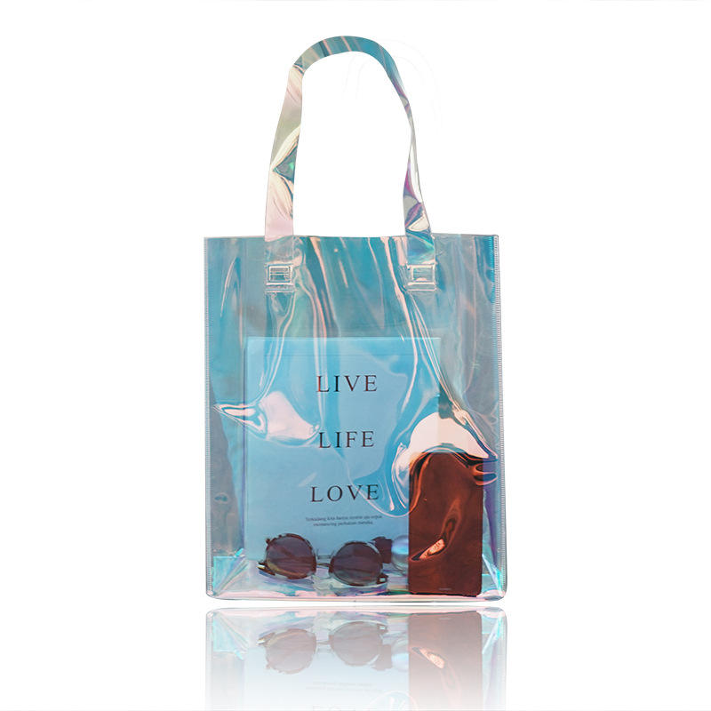 Handled Transparent Plastic PVC Bag With Button