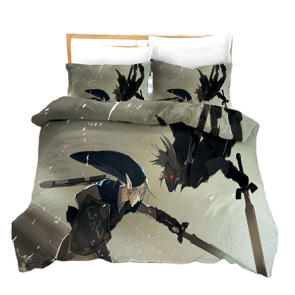 Latest Version Zelda 3D Printed Cartoon Duvet Quilt Cover Luxury Home Polyester Bedding Bed Sheet Set