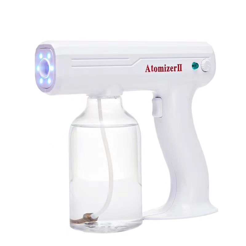 Portable Blue Led Light Mist Spray Gun Handheld Electric Nano Steam Spray Gun Machine Atomizing Portable