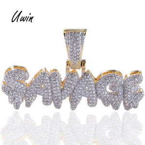 Iced-Out Hip Hop Gold Color Diamond Letter Brass Micro Pave Cubic Zircon SAVAGE Pendant Necklace Charm For Men Gifts