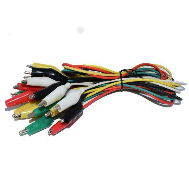 crocodile clip with cable 50cm red/black/white/green/yellow 5 colors mixed Alligator clamp test lead cable clips