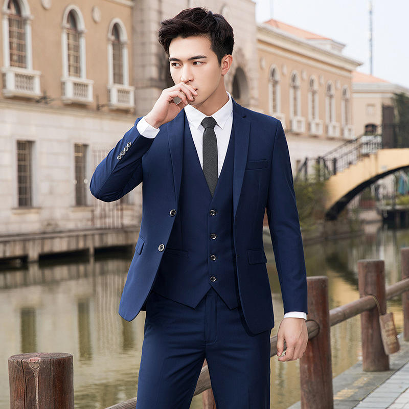 Wholesale New Arrival Fashion Men Slim Fit Suits Business Formal Suit with Pants Tuxedo Blue Wedding Suits for Men