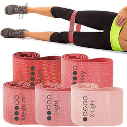 5 levels fitness custom logo customized color fitness exercise elastic cotton fabric hip circle glute resistance bands