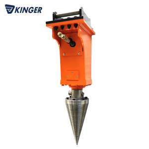 Mini excavator KINGER hydraulic conical log wood splitter for sale