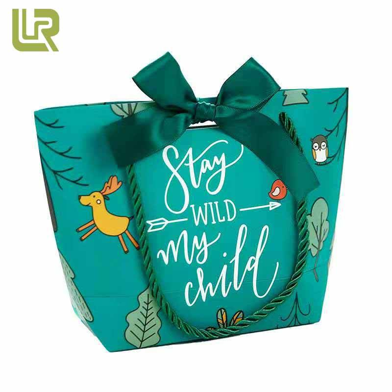 Wholesale Matte Finish Turquoise Forest Pattern Gift Party Birthday Paper Bag Rope Handle