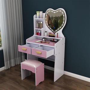 white mdf wooden mirrored dresser vanity makeup dressing table