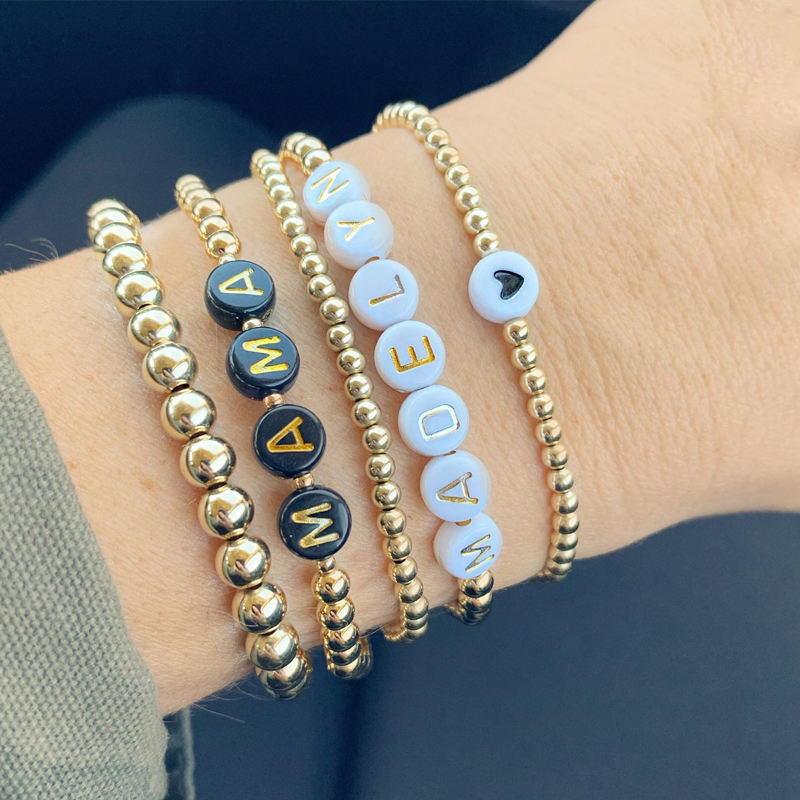 Custom Name 14K Gold Plated Stainless Steel Beads Beaded Letters Lucky Bracelets Layering Stackable Bracelet