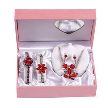 Perfect Design Necklace Earrings Jewelry Alloy Watch Set Valentine Gifts For Girlfriend