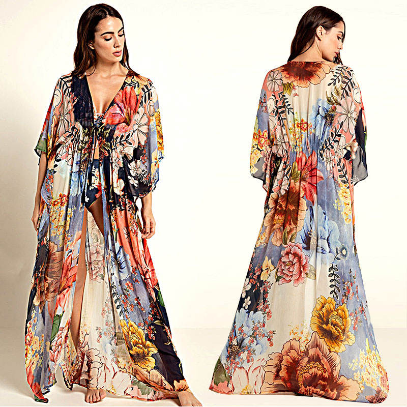 2020 Stunning Floral Print Deep V Neck Kimono Cardigan Chiffon Casual Dress Beach Cover Up