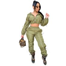 Plus size Long sleeved elastic trousers drawstring crop top jumpsuit women two piece leggings set DMCY1264