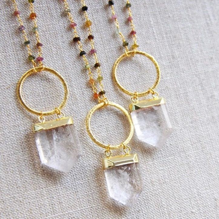 LS-A128 fashion crystal quartz pendant necklace rosary necklace with big gold circle stylish designs wholesale