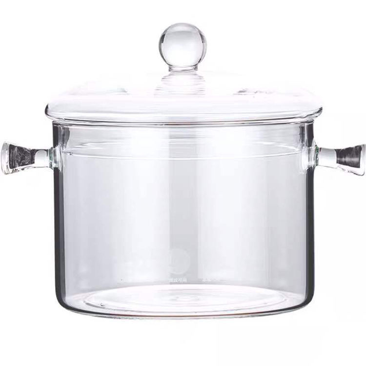 High borosilicate transparent heat-resistant glass cooking pot