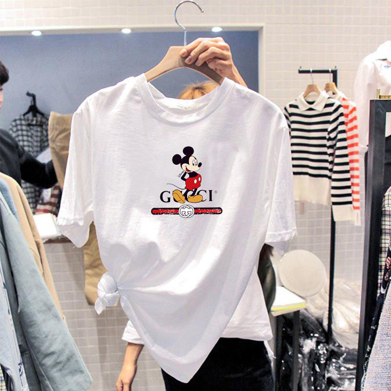 Loose Oversized T-shirt Wear Casual Tee Tops Cartoon Mouse Short Sleeve 2020 Summer Plus Size Women Ladies Clothing