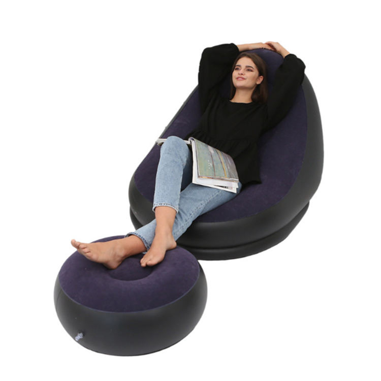 Giant Dark Blue Sofa Inflatable Lazy Sofa Relax Chair with Ottoman