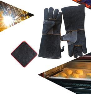 SUNSHINE 14inch Mig Tig Welding Gloves Cow Split Leather Heat Resistant Cooking Bbq Gloves