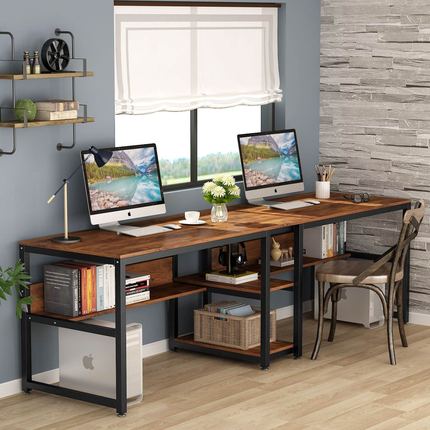 Rustic Design MDF Wood Office Home Furniture Long Two Person Computer Desk Table mit Open Storage