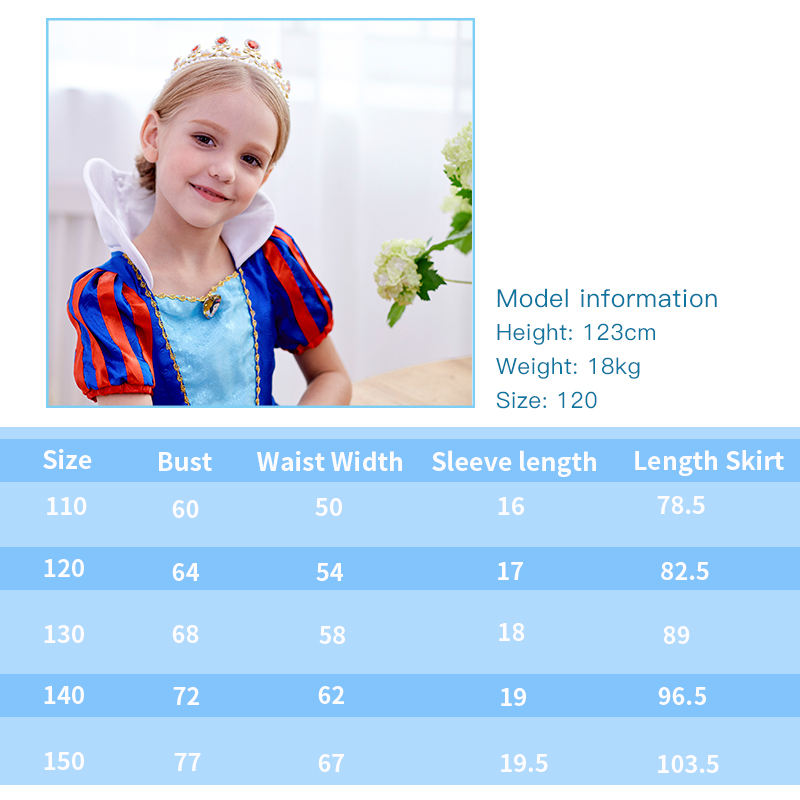 Girls Traditional Dress Up Princess Fairy Costume Set Cosplay Carnival Snow White Cloth For Kids