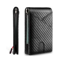 Amazon hot sale multifunction slim genuine carbon fiber smooth leather rfid id credit card holder money clip wallet for men