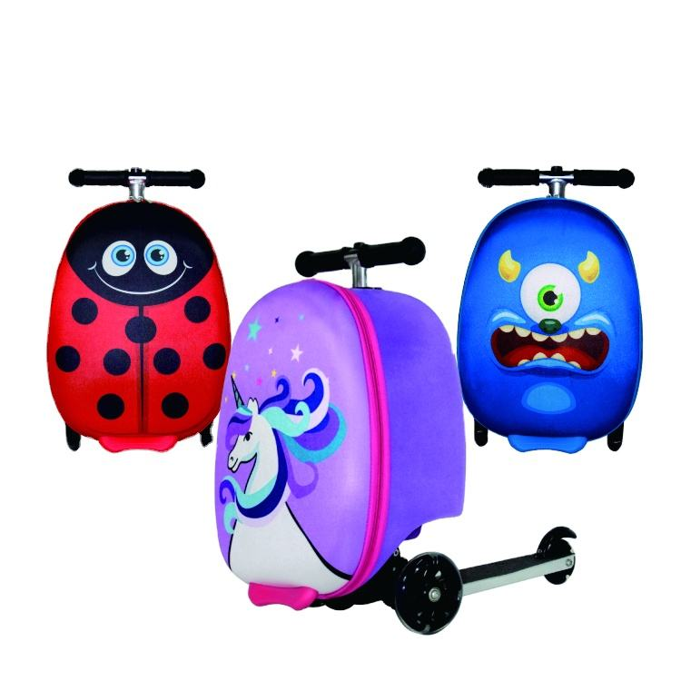 Fashion Amazon hot sale custom 3D trolley traveling bags sample available kids scooter luggage suitcase for children
