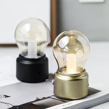 Retro USB Rechargeable Desk Lamp Mini Desk DC 5V 200mAh Battery Decor Lamp Small Table Bulb Led Night Light with Golden Base