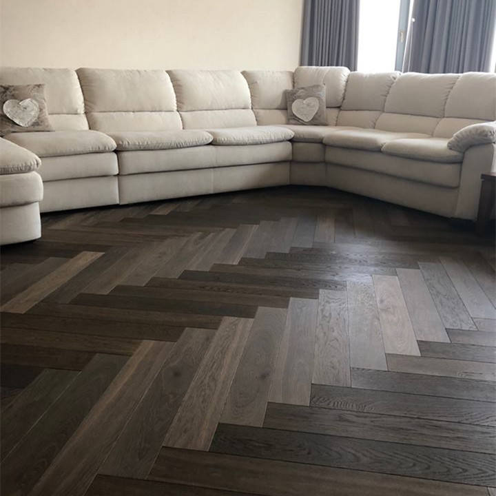 Chocolate Color Stain Brushed Herringbone Wood Flooring with Oak Top Layer