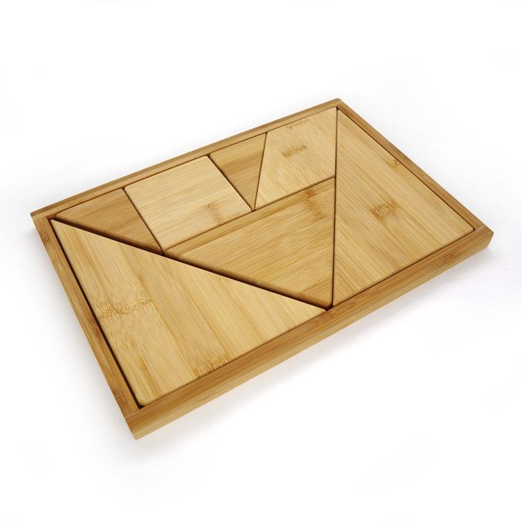 Bamboo Wooden Tangram Puzzle Game 7 Pieces