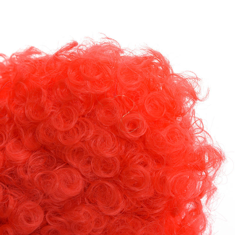 Wonderland The Red Heart Queen Clown Fans Wig Curly Afro Halloween Funny Props Party Wigs