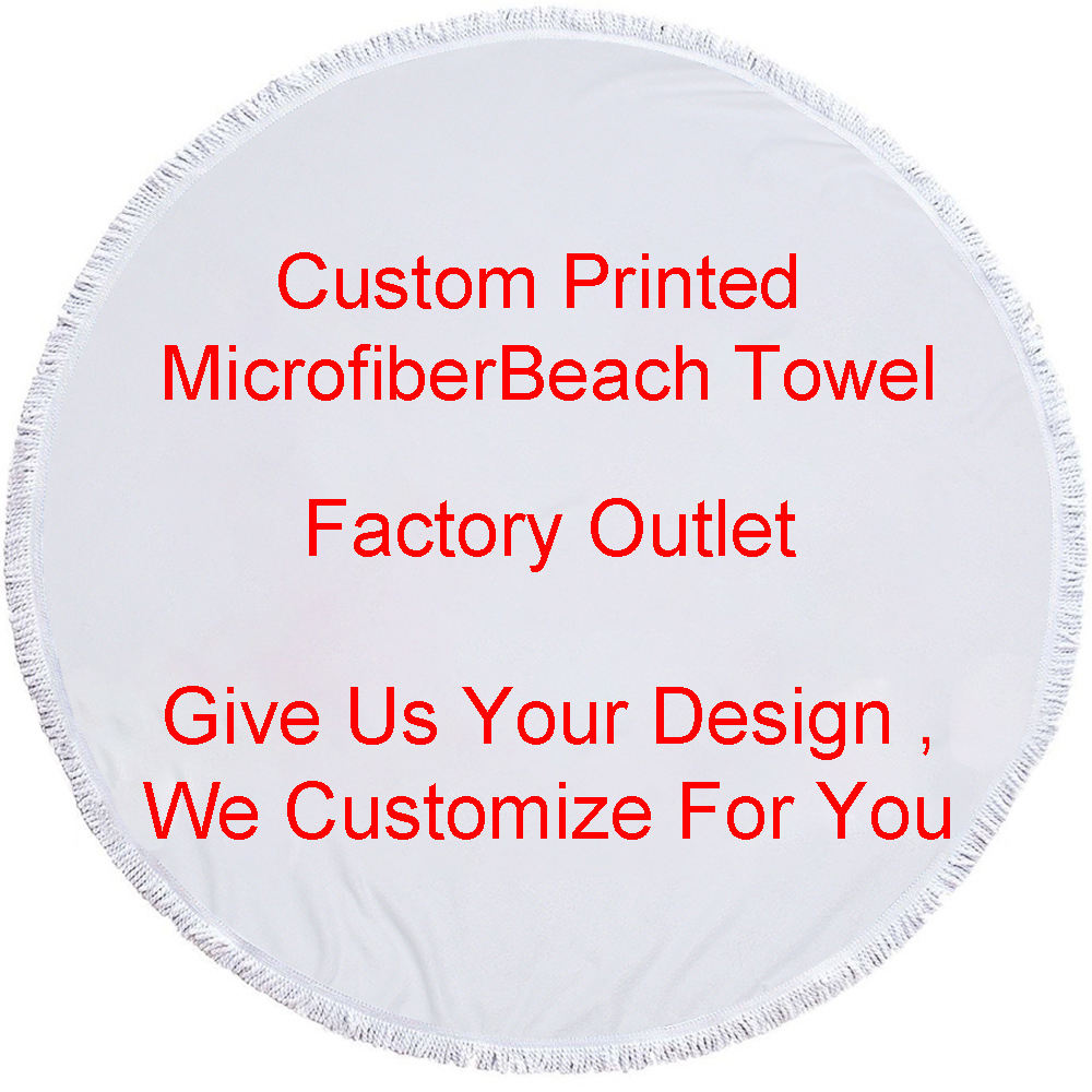 Factory Direct Round Printed Beach Towel Microfiber Plus Tassel Feel Soft Customizable Logo