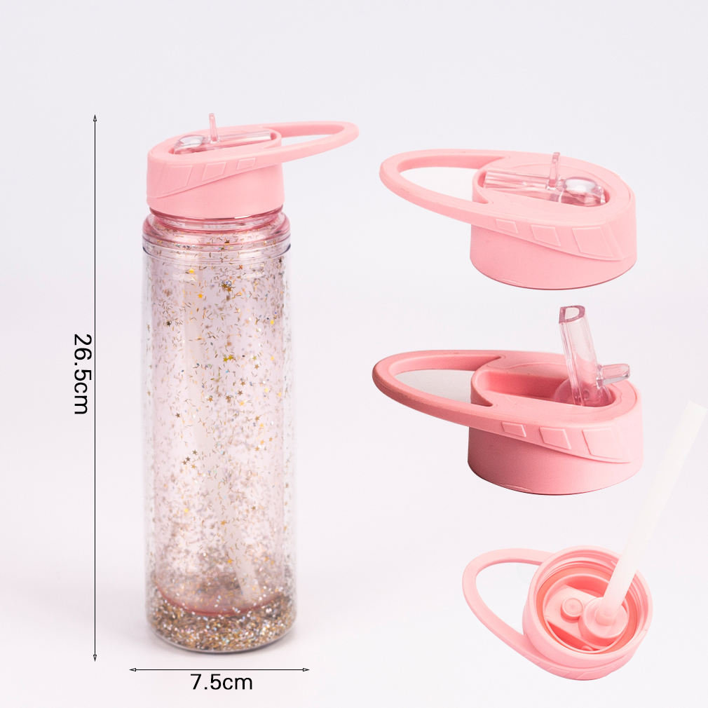 2020 Amazon DIY 2 layers bling bling tritan plastic water bottle with glitters 500ml