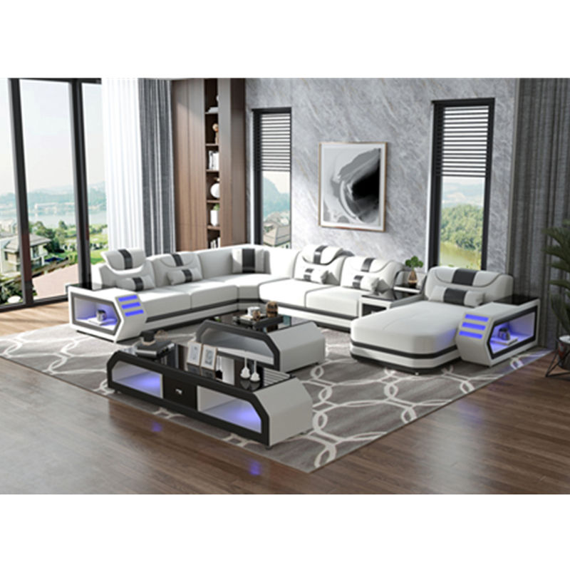 living room assembly corner combination sofa furniture living room sofa set multifunctional nordic style leather sofa