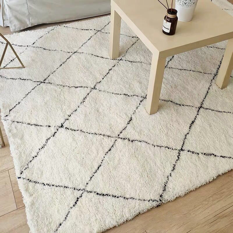 White Living Room Rugs Morocco Style Mat Polyester Shaggy Carpet