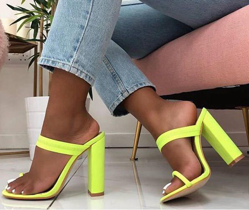 42 Women Transparent High Heel Summer Slippers Ladies Fashion Flip Flops Square Heels Female Shoes Plus Size Candy Color Slides
